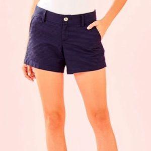 LILLY PULITZER Navy Blue Callahan Textured Shorts